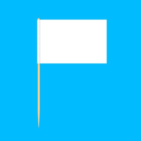 stuzzicadenti in legno bandiere in miniatura isolato su sfondo blu, stuzzicadenti bandiere rettangolo vuoto o bianco, icona della puntina stuzzicadenti, bandiere stuzzicadenti per messaggio puntatore mini stick