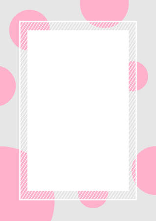 empty banner frame polka dot pink colors rectangle background, banner frame polka dot pastel pink colors copy space advertising, template banner blank and polka dot pink gray frame for graphic design
