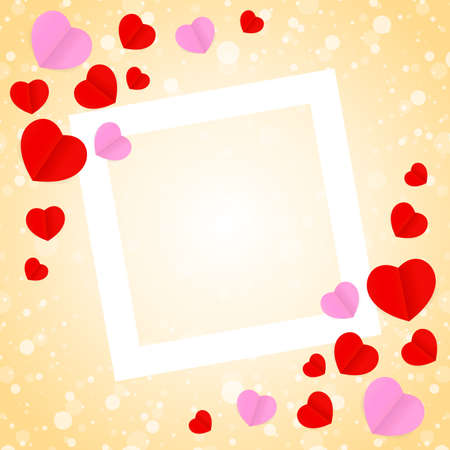 square white frame and red pink heart shape for template banner valentines card background, many hearts shape on orange gradient soft for valentine background, image orange with heart-shape decoration Фото со стока - 122253245