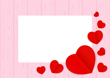 Valentine pink Background and copy space, Heart shape red on the pastel pink wood table and top view for background, Valentines wooden frame and Red Heart shaped for banner graphic design love card Иллюстрация