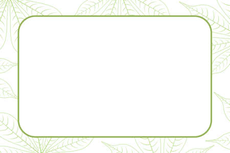 banner frame empty and copy space with graphic cassava leaf nature sketch art line background, leaf hand drawn banner frame for potato organic menu foods, drawing leaf for banner template agricultural