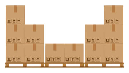 crate boxes on wooded pallet, wood pallet with cardboard box in factory warehouse storage, flat style warehouse cardboard parcel boxes stack, packaging cargo, 3d boxes brown isolated on white Ilustração