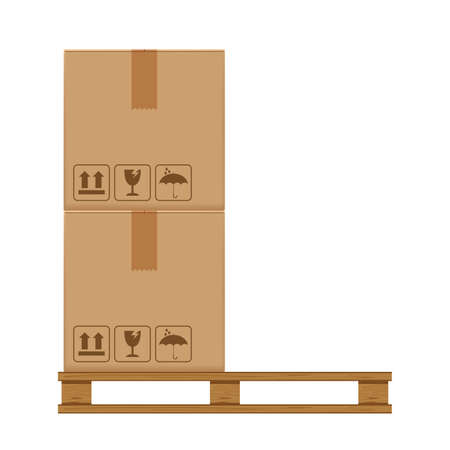 crate boxes two on wooded pallet, wood pallet with cardboard box in factory warehouse storage, flat style warehouse cardboard parcel boxes stack, packaging cargo, 3d boxes brown isolated on white