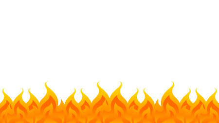 fire, flame row on white background, bonfire frame, fire flame isolated on white and copy space, fire flame illustration for graphic banner background design Ilustração