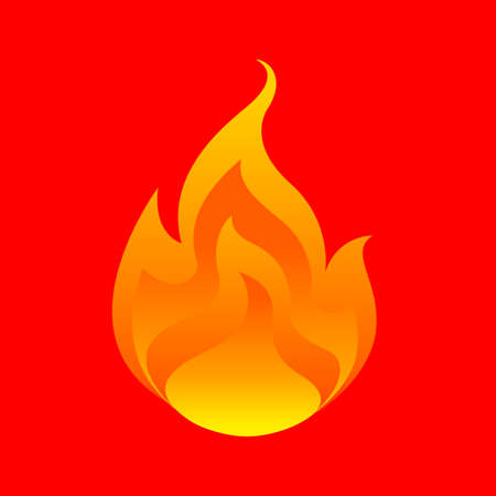 flame, fireball isolated on red background, fire burn symbol, flames icon, flaming logo, bonfire blaze illustration, icon fireball flat for info graphic design, hot symbol for website