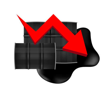 crude oil barrels with falling graph symbol red arrow isolated on white background, black metal barrel and crude oil drop and spill, icon of crude oil price decrease and petroleum oil industry concept