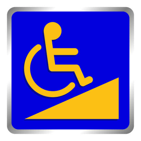 disabled signs blue colors frame background, sign boards of disability slope path ladder way sign badge for disabled, disabled symbol signs yellow on blue boards template Ilustração