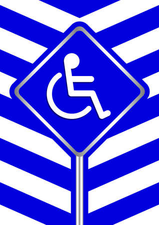 disabled signs on frame blue stripe colors background, sign boards of disability slope path ladder way sign badge for disabled, disabled symbol signs on blue boards template