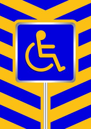 disabled signs blue colors on blue and yellow stripes frame background, sign boards of disability slope path ladder way sign badge for disabled, disabled symbol signs yellow stripes boards template