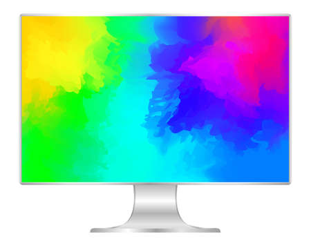 mock up computer and wallpaper colorful colors, flat monitor with multi colors vivid full screen, pc display digital wide screen and slim, colorful art on 4k modern screen, monitor modern lcd desktop Foto de archivo - 122253909