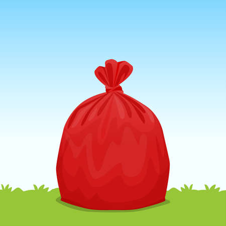 red bag plastic garbage on grass sky background, bin bag, garbage bags for waste, pollution plastic bag waste, 3r ad, waste plastic bags and copy space for banner advertising background