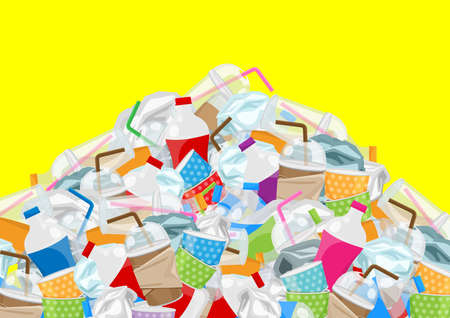 illustration of pile garbage waste plastic and paper in mountain shape isolated yellow background, bottles plastic garbage waste many, stack of plastic bottle paper cup waste dump, pollution garbage Stock Illustratie