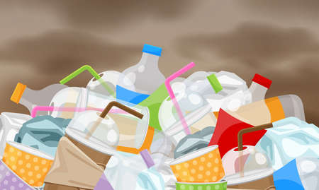 déchets de déchets en plastique beaucoup sur fond de ciel de pollution, tas de bouteilles déchets de déchets en plastique beaucoup, décharge de déchets de tasse de papier de bouteille en plastique, problème d'environnement de déchets et atmosphère atmosphérique polluée Vecteurs