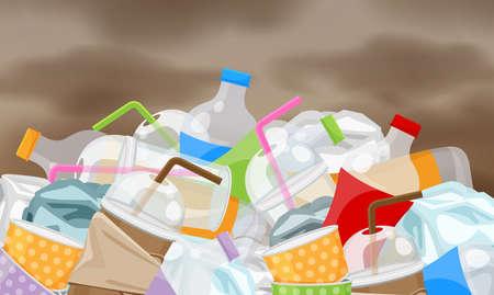 rifiuti di immondizia plastica molti sullo sfondo del cielo di inquinamento, mucchio di bottiglie rifiuti di plastica rifiuti molti, bottiglia di plastica tazza di carta discarica di rifiuti, problema dell'ambiente di immondizia e atmosfera inquinata dall'aria Vettoriali