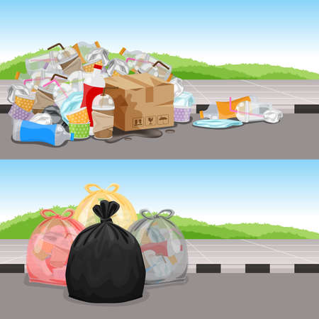 before and after in concept cleaning waste separation, garbage bags plastic waste for challenge background banner, garbage waste plastic and at walkway, trash waste in challenge eco change concept