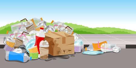 viel Plastikmüll auf dem Gehwegboden, viele Müllflaschenpapierbox und Glasplastikstrohhalme, viele Mülltüten aus Plastik, Müllhaufen, Umweltverschmutzung, 3r