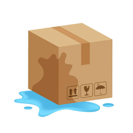 damaged wet crate boxes 3d, broken cardboard box wet, flat style cardboard parcel boxes, packaging cargo, isometric boxes brown, packaging box brown icon, symbol carton box isolated white background