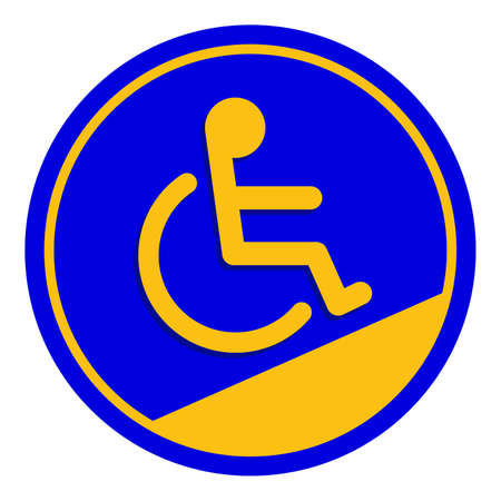 disabled signs circle frame blue colors background, sign boards for disability slope path ladder way sign badge for disabled, disabled symbol signs on blue boards template Ilustração