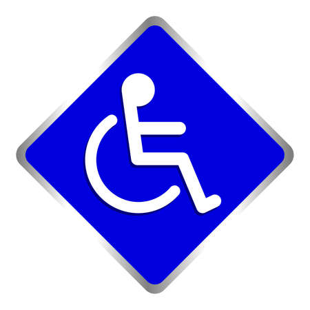 disabled signs square blue colors frame background, sign boards for disability slope path ladder way sign badge for disabled, disabled symbol signs on blue boards template Ilustração