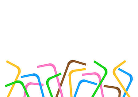 empty frame of straws colorful isolated on white background and blank copy space for ad, frame of plastic straws waste in campaign stop and ban using straws plastic waste, banner tube garbage Reklamní fotografie - 123563734
