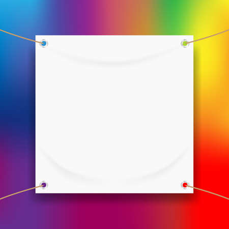 vinyl banner blank white isolated on colorful art background, white mock up textile fabric empty for banner advertising stand hanging, indoor outdoor fabric vinyl on colored paint rainbow colors frame Illusztráció