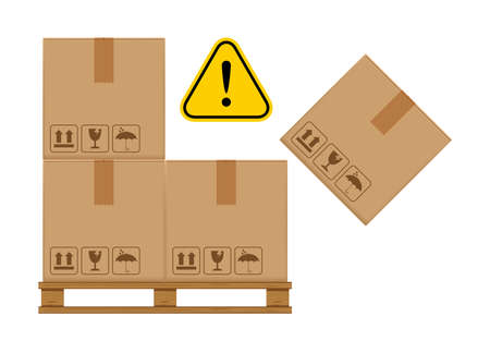 crate boxes on wooded pallet and warning sign yellow for product arrangement concept, stack cardboard box in factory warehouse storage, cardboard parcel boxes packaging cargo brown isolated on white