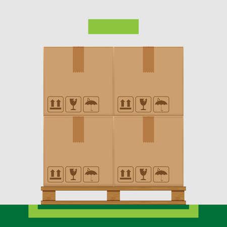 Cajas de cajas en palés arbolados y área de marcado verde para el concepto de arreglo de productos, caja de cartón apilada en el almacén de la fábrica, cajas de paquetes de cartón que empaquetan la carga marrón aislado en gris