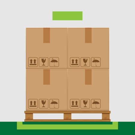 crate boxes on wooded pallet and green marking area for products arrangement concept, stack cardboard box in factory warehouse storage, cardboard parcel boxes packaging cargo brown isolated on grey Illustration