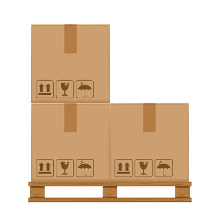 crate boxes three on wooded pallet, wood pallet with cardboard box in factory warehouse storage, flat style warehouse cardboard parcel boxes stack, packaging cargo, 3d boxes brown isolated on white
