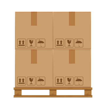 crate boxes four on wooded pallet, wood pallet with cardboard box in factory warehouse storage, flat style warehouse cardboard parcel boxes stack, packaging cargo, 3d boxes brown isolated on white Ilustração