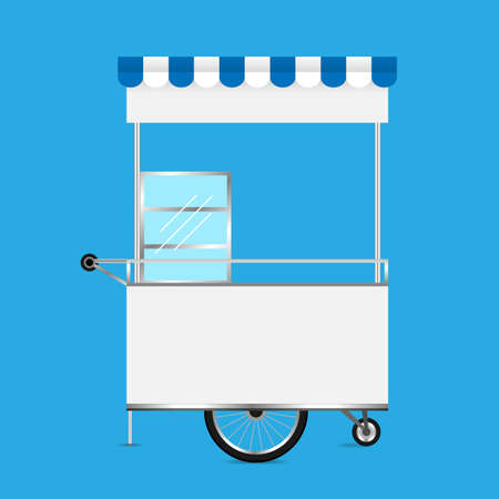 kiosk white, template blank of kiosk wheels cart stock clip art for design, kiosk empty for design of market and exterior symbol, set of market food outdoor, wheels cart kiosk for business small shop Vektorové ilustrace
