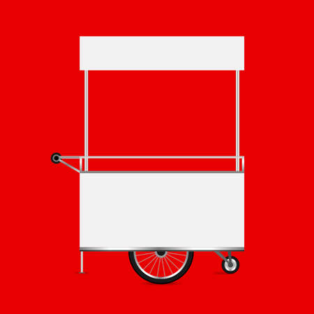 empty kiosk red background, template blank of kiosk wheels cart stock clip art, kiosk empty for design of market and exterior symbol, market food outdoor set, wheels cart kiosk for business small shop Stock Vector - 126451604