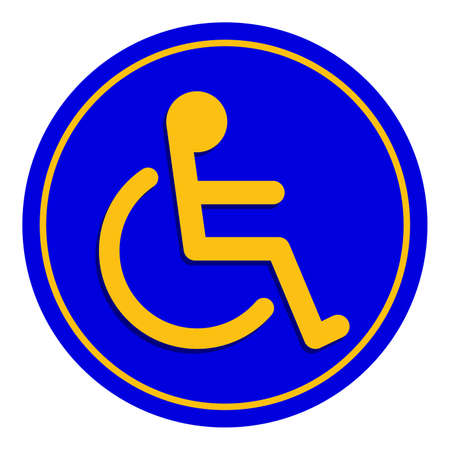 disabled signs blue colors frame background, sign boards for disability slope path ladder way sign badge for disabled, disabled symbol signs on blue boards template Ilustração