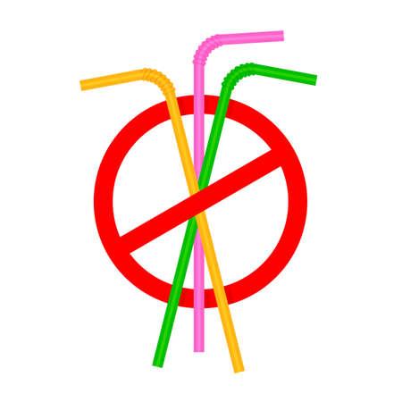 signs stop straw tube plastic, refusal of disposable plastic drinking straw in favor of drinking straws, ban plastic drinking straws, stop sign on white background Vektoros illusztráció
