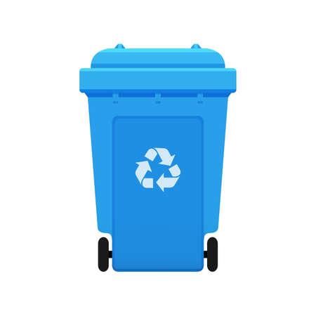 Mülleimer, Recycling-Kunststoff-blaue Mülltonne für Müll isoliert auf weißem Hintergrund, Blaue Mülltonne mit Recycling-Symbol, Vorderansicht der blauen Mülltonne für Mülleimer