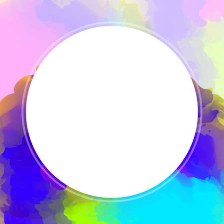 circle white on watercolor texture art for banner background, white circle empty frame of water color pink, circle banner art frame mixed of multicolor, circle frame on blue colorful watercolor banner