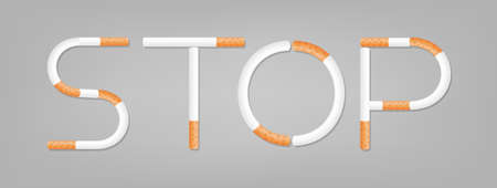 the word stop spelled using cigarettes, stop smoking, stop cigarette using isolated on grey background, alphabet stop of cigarette