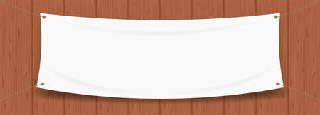 vinyl banner blank white isolated on wood frame background, white mock up textile fabric empty for banner advertising stand hanging, indoor outdoor fabric mesh vinyl backdrop for presentation poster Illustration