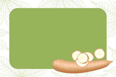 Bannerrahmen aus Maniok frisch für Kopienraum, Maniok-Schnittscheibe für Tapiokamehlindustrie oder Ethanol, Yucca-Maniokknolle auf Rahmen stapeln, roher Maniok-Maniok auf Vorlagenbanner grüner Hintergrund leer background