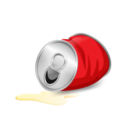 aluminum canned waste, canned garbage waste red color isolated on white background, used cans illustration cartoon clip arts, garbage of crumpled aluminum cans waste