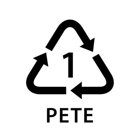 recycle arrow triangle PETE types 1 isolated on white background, symbology one type of plastic PETE materials, recycle triangle types icon graphic, recycle plastic ecology icon Vectores