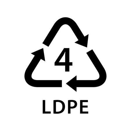 recycle arrow triangle LDPE types 4 isolated on white background, symbology four type of plastic LDPE materials, recycle triangle types icon graphic, recycle plastic ecology icon Vectores