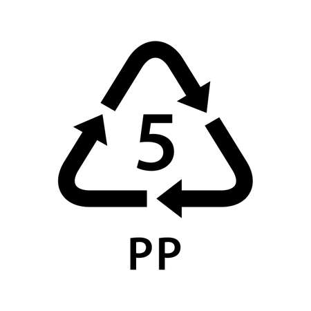 recycle arrow triangle PP types 5 isolated on white background, symbology five type of plastic PP materials, recycle triangle types icon graphic, recycle plastic ecology icon Vectores