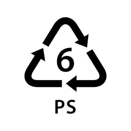 recycle arrow triangle PS types 6 isolated on white background, symbology six type of plastic PS materials, recycle triangle types icon graphic, recycle plastic ecology icon