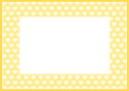 frame of yellow pastel color soft and hearts shape for banner background and copy space white paper, heart shape on yellow soft, heart shaped pastel for love card frame, heart shape symbolizes love