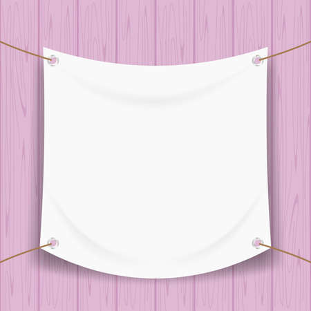 vinyl banner blank white isolated on purple pastel wood frame, mock up textile fabric empty of banner advertising stand hanging, indoor outdoor fabric mesh vinyl backdrop for presentation frame poster Illustration