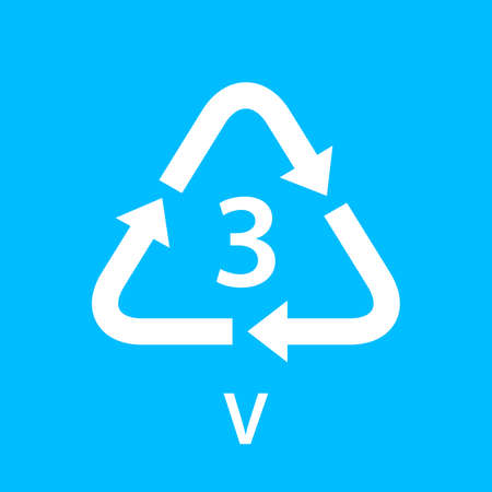 recycle arrow triangle V types 3 isolated on blue background, symbology three type logo of plastic V materials, recycle triangle types icon graphic, recycle plastic ecology icon