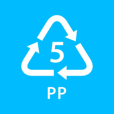 recycle arrow triangle PP types 5 isolated on blue background, symbology five type logo of plastic PP materials, recycle triangle types icon graphic, recycle plastic ecology icon