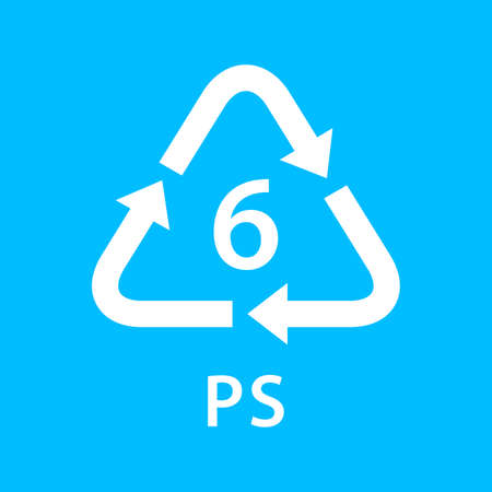 recycle arrow triangle PS types 6 isolated on blue background, symbology six type logo of plastic PS materials, recycle triangle types icon graphic, recycle plastic ecology icon Vectores