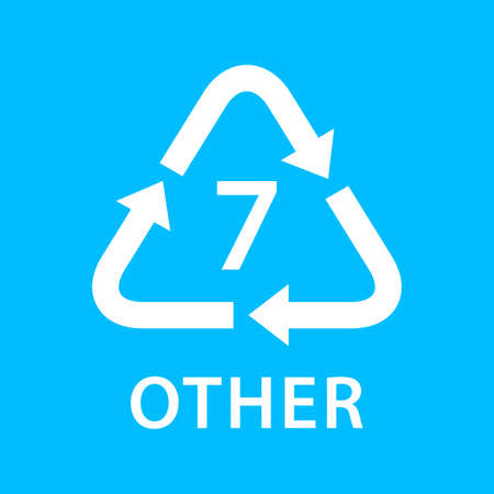 recycle arrow triangle OTHER types 7 isolated on blue background, symbology seven type logo of plastic OTHER materials, recycle triangle types icon graphic, recycle plastic ecology icon Vectores